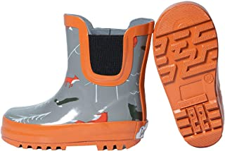 Baby Toddler Kids Natural Rubber Rain Boots Easy-on with Soft Cotton Lining for Girls Boys