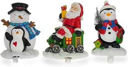 BestPysanky Set of 3 Hand Painted Stocking Holders - Penguin, Snowman & Santa 6.5 Inches