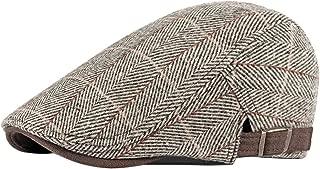 BESBOMIG Beret Men Women Checked Traditional Tweed Flat Cap Ivy Irish Hat Gatsby Newsboy Hunting Cabbie Driving Sun Hats 55-60cm