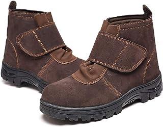 ZYFXZ Bottes de sécurité hautes pour hommes, cuir daim résistant à la chaleur S3 Chaussures de travail industrielles antid...