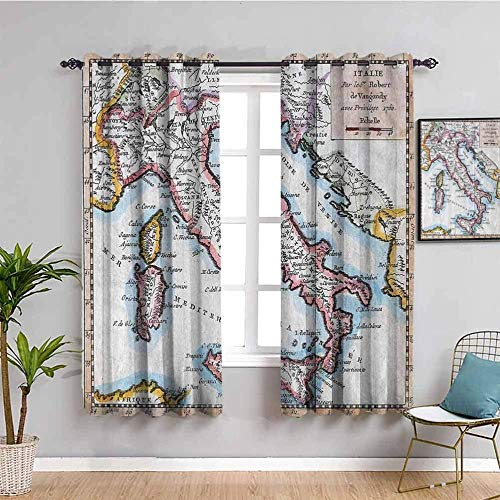 Azbza Blackout Curtains for Living Room - Map place name letter Europe and America - 90% Blackout 3D printing Curtains for Girls Kids Bedroom Window - W90 x H70 inch - Light Filter Privacy Protected