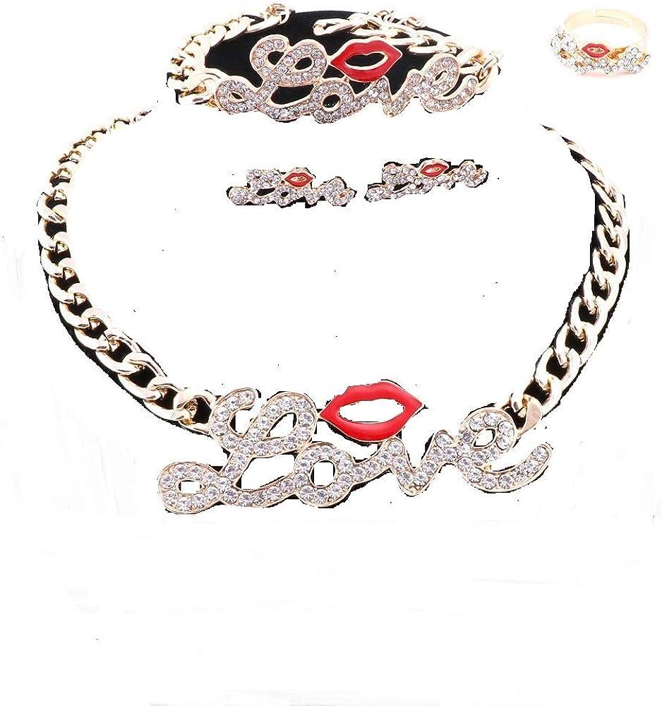 WANG Hip Hop Fashion Style Luxury Rhinestone Lip Love Collar Necklace Earring Jewelry Sets