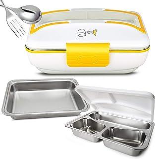 SPICE Amarillo Inox Trio Chauffe-plat Lunch Box 40 W 1 l + Lot de 2 bacs en acier inoxydable et couvercle d'étanchéité