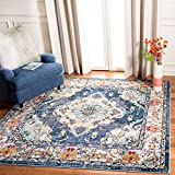 Safavieh Monaco Collection MNC243F Bohemian Chic Medallion Distressed Area Rug, 3' Square, Navy/Light Blue
