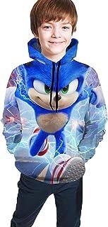 guoweiweiB Sudadera Juvenil con Capucha Sonic-The-Hedgehog Kids Hoodie Pullover 3D Print Sweatshirt with Pockets