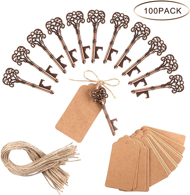 PartyTalk 100pcs Vintage Skeleton Key Bottle Opener Wedding Favors With Tag And Twine Antique Key Bottle Opener Rustic Christmas Party Decorations
