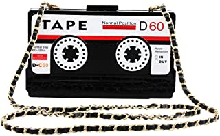 FengheYQ Women's New Europe and America Fashion Daily Acrylic Tape Shape Dinner Clutch Bag Chain Shoulder Diagonal Messenger Bag Clutch Size:18 * 4.6 * 11cm (Color : Black)