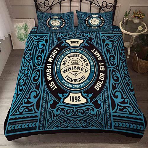 3D Dekbedovertrek Sets Whiskey Bedcombinaties 3 Piece Black Blue Wine Dekbed dekbed en kussen Case Single Maat 135x200cm (53 x 79inch) voor kinderen, jongens, meisjes,Wine7,230x220cm