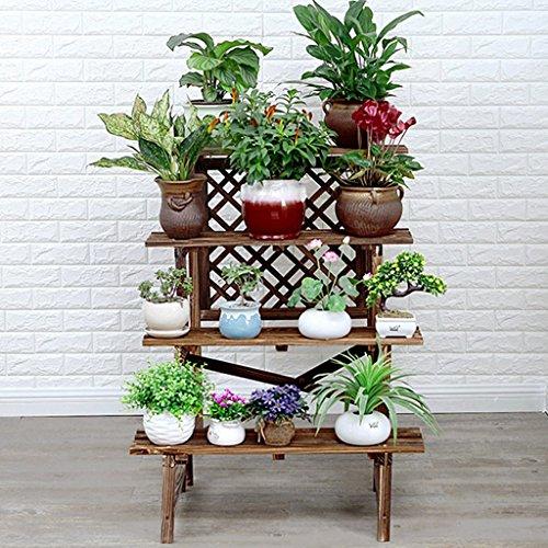 Stand de fleurs stand de plantes à plusieurs étages en bois massif étage balcon salon fleur stand coupé le violet bois étagère de fleurs de marguerite solide fort bonne(Size : 78x90x97cm)