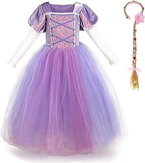 Disfraz de Princesa Rapunzel para niña con Pelucas Trenzadas, 2 Piezas, Trajes de Carnaval, Cosplay, Mangas largas de Malla, tutú, Baile de graduación, para Halloween, Navidad, Fiesta de cumpleaños