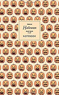 Halloween Notebook - Ruled Pages - 5x8 - Premium: (Sand Edition) Fun Halloween Jack o Lantern notebook 96 ruled/lined page...
