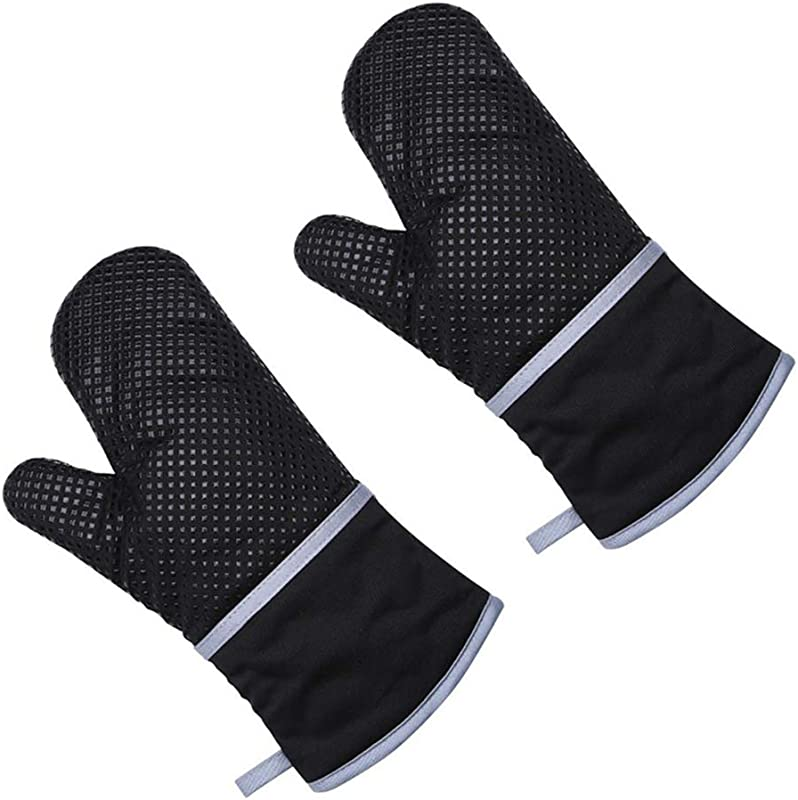 Oven Mitts Kitchen Gloves Plaid Cotton Lining Heat Resistant For Cooking Baking Kitchen 1 Pair Of