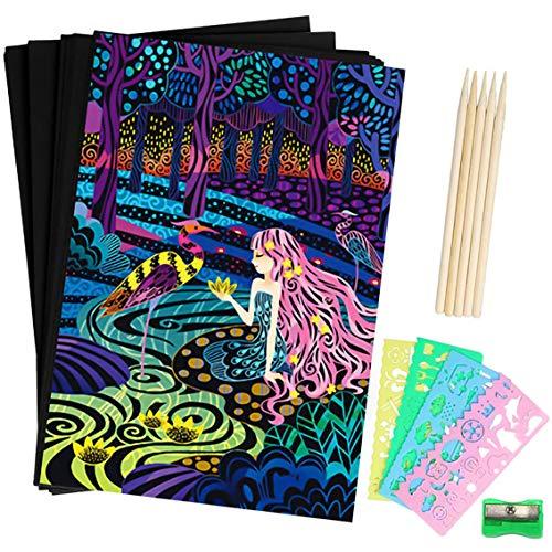 BESTZY Scratch Art Paper, 50 Obras De Arte De Raspado De Arco Iris y Manualidades Infantiles Papel Rayado Negro, con 5 Estilográficas De Madera, 4 Reglas De Dibujo y 1 Sacapuntas