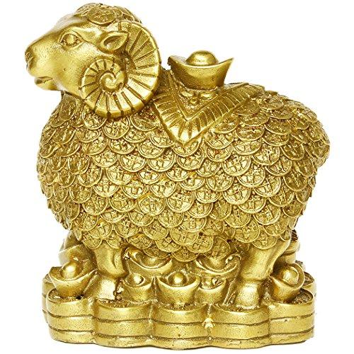 Messing Schaf Ziege mit Münzen Figuren handgemachte chinesische Dekoration Geschenk Sammlerstück BS038