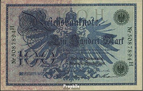 Deutsches Reich Rosenbg: 34, grünes Siegel 1908 100 Mark (Banknoten für Sammler)