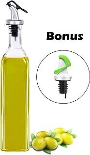 Olive Oil Dispenser, Elegant Life 16.50oz Vinegar Glass Cruet Bottle Set with One Free Automatic Oil Dispensing Pour Spouts for Oil Kitchen