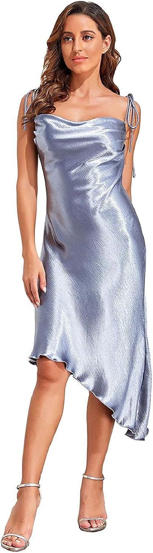 Modegal Women's Shiny Satin Adjustable Straps Backless Cowl Neck Sleeveless Asymmetric Hem Cocktail Fishtail Cami Midi Dress