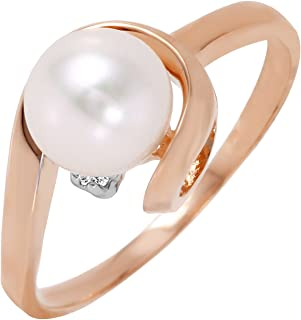1.01 Carat 14k Solid Rose Gold Ring with Natural Diamond and Freshwater-Cultured Pearl