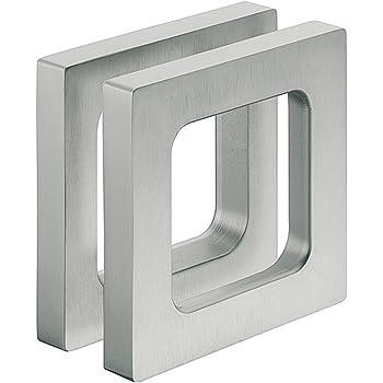 Diseño – Tirador puerta de cristal aspecto de acero para pegar caracola Mango Rectangular para puertas de cristal, mango caracola adhesivos, 75 x 75 x 10 mm, muebles herrajes de gedotec®: Amazon.es: