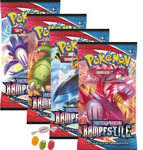 Pokemon Schwert & Schild - Kampfstile - 4 Booster - Deutsch zusätzlich 1 x Sticker-und-co Fruchtmix Bonbon
