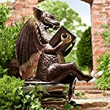 RUIHANG Metal Reading Dragon-Bald Eagle Sculpture, Handmade American Dragon&Eagle Statue, Indoor/Outdoor Decor for Office, Art Hand Carved Rustic Lodge Outdoor Decorative Home Decor Yard