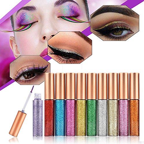 Juego de delineadores de ojos,10 Colores Eyeliner Glitter Impermeable Shimmer Pigmento Oro Plata Metalizado Líquido Glitters Eyeliner