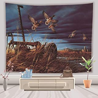 Tapestry Wall Hanging Bohemian Hippie Indian Trippy Large Rectangular Print Fabric,Flying Wild Ducks,Modern Art Wall Decoration for Men Living Room Bedroom Office,150X200 cm