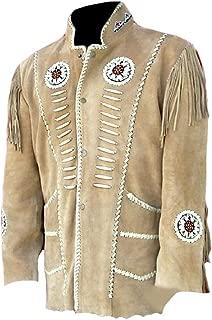 Men's Western Cowboy Fringed Motokit Suede Leather Jacket