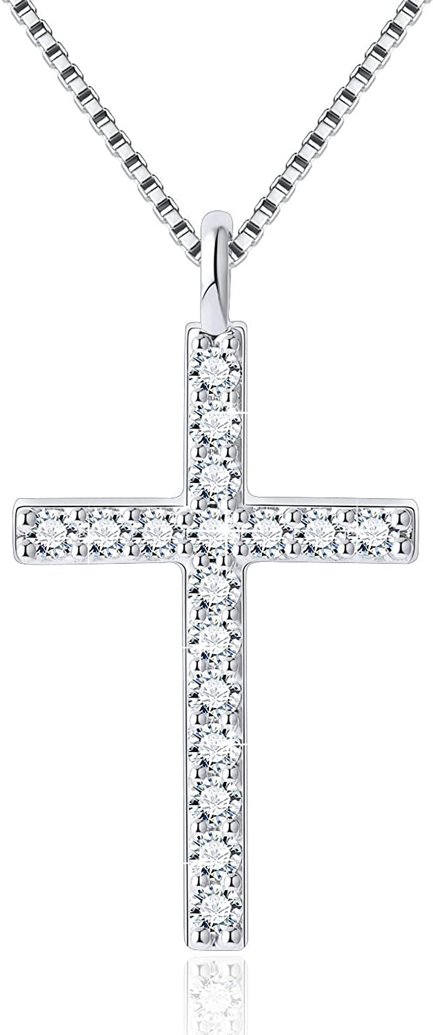SUE'S SECRET Rhinestones Cross Necklace for Women Teen Girls Black and White Two-Sided Cubic Zirconia Pendant with Exquisite Box Dainty Jewelry for Her