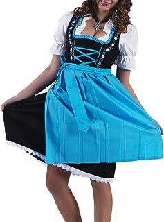 dirndl schwarz türkis Alpenmärchen 3tlg. Dirndl-Set - Trachtenkleid, Bluse, Schürze, Gr.32-60, schwarz-türkis, ALM464