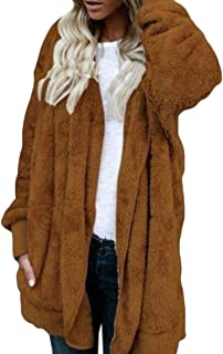 Womens Plush Open-Front Mid Long Hooded Warm Trench Coats Khaki US Large