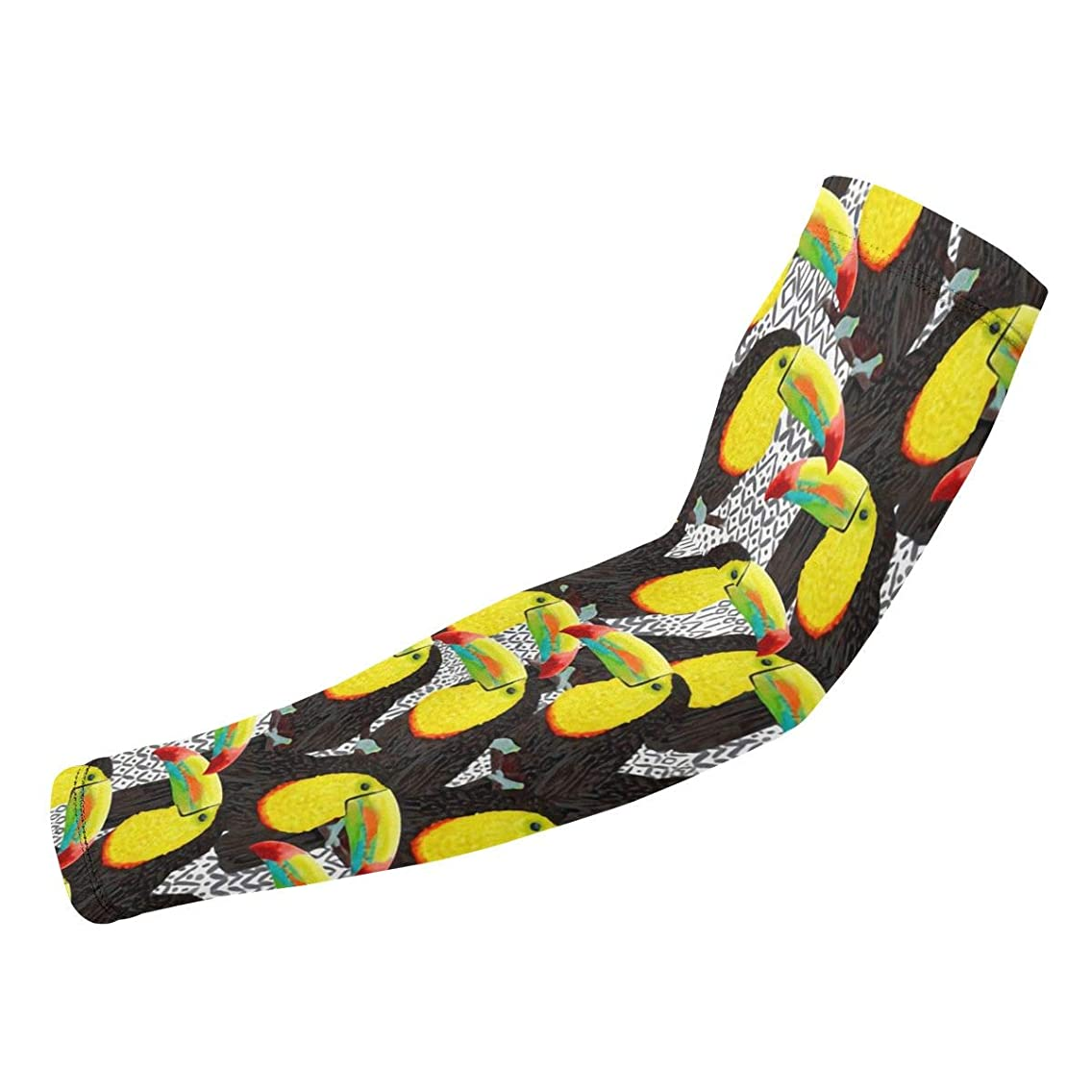 Liumong White Toucan Beak Bird Themed Printed Cool Sport Gym Athletic Gear Protective Accessories Elbow Compression Sleeve Arm Guard Warmers Supports Supplies