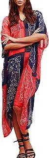 Women's Boho Long Cover Ups Round Neck Waist Drawstring Beachwear Maxi Dress