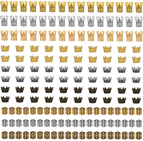 165 Pieces King Crown Charms Multi Colors Assorted Crown Beads Brass Alloy Crown Charm Large product image