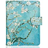 WALNEW Passport Holder Cover Case Travelling Passport Cards Carrier Wallet Case, Tree and Flowers