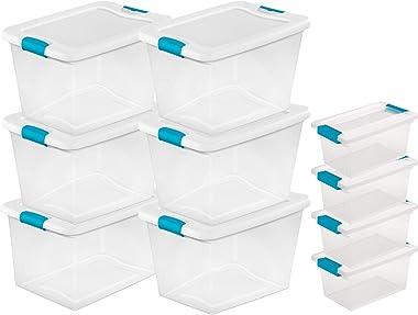 Sterilite 64-Quart Plastic Storage Container Tote (6 Pack) + Medium Clip Storage Box (4 Pack)