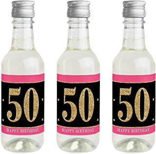 Chic 50th Birthday - Pink, Black and Gold - Mini Wine and Champagne Bottle Label Stickers - Birthday Party Favor Gift for Women and Men - Set of 16