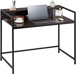 Kealive Computer Desk with Adjustable Legs, 2 Tier Modern Home Offices Study Workstation with Riser, 43 Inch Large Metal and Wooden Writing desk, Gaming Laptop Table for Apartment Office, Black Walnut
