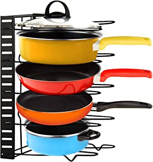 Mocoum Frying Pan Organizer Rack, Height Adjustable Pot and Pan Rack Organizer Cast Iron Skillets Pot Bakeware Plate Lid Holder for Kitchen, Counter, Cabinet, Pantry Storage and Organization