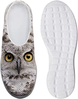 AXGM Men's Slippers Mesh Clogs Mules Beach Shoes Owl Animal Grey Graphic Breathable Slippers Boys Casual Shoes Slip On Gar...