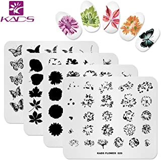KADS Nail Art Stamp Plate Overprint Butterfly Flower Leaves Series Nail stamping plate Template Image Plate Nail Art DIY D...