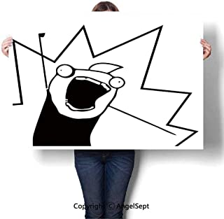 Fashion Frameless Painting on Canvas,Happy Stick Meme Troll Face Cheerful Expression Digital Stylized Modern Design Black White,W32 xL24,Home Decor Artwork Wall Art Picture