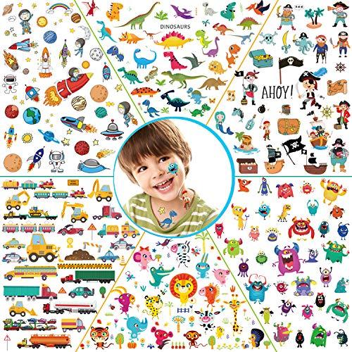 Konsait 278 Pezzi Tatuaggi temporanei per Bambini, 24 Fogli 6 Serie Finti Impermeabili Tatuaggio per Ragazzi, Pirati, Mostri, Animali, Auto, Spazio, D