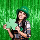 LUXURIOUS COLORS in our metallic emerald green tinsel curtain that comes in a pack of two giant 36 by 96 Inches mylar backdrop. We thoughtfully designed our accessories so that they come with sticky adhesive strip segments on the back to adhere to la...