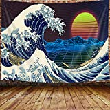 "Vintage Japanese Decor Tapestry, the Great Wave Off Kanagawa with Red Sun Tapestry Wall Hanging for Bedroom, Neon Anime Vaporwave Tapestry Beach Blanket College Dorm Home Decor (71""W X 60""H)"