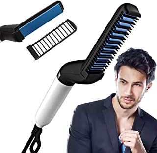 Piesome Quick Hair Styler for Men Electric Beard Straightener Massage Hair Comb Beard Comb Multifunctional Curly Hair Straightening Comb Curler, Beard Straightener, Beard Straightener For Men(Black)