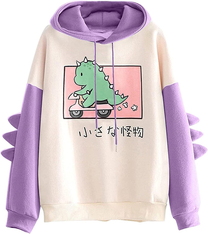 Dinosaur Sweatshirt for Womens Animal Anime Cute Cartoon Shirt Hoodies Long Sleeve Pullover Tops for Teen Girls