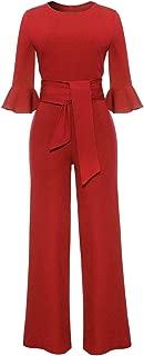 Molisry Women Solid Long Sleeve Wide Leg Long Jumpsuits Romper Pants with Belt