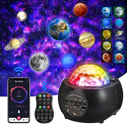 Raumprojektor , LED Sternenhimmel Projektor, Planeten projektor,3 in1 Ocean Wave Sky licht Galaxien projektor, Nacht licht projektor 32 Farb-und Lichtmodi für Kinder Erwachsene, Home Planetarium