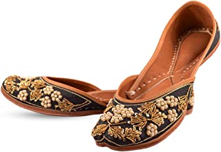 Indian Ethnic Embroidered Jutti Mojari Ballet Flats Traditional Black Pump Shoes for Women
